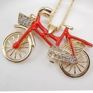 Jewelry - Cute Red Crystal Large Bicycle Necklace